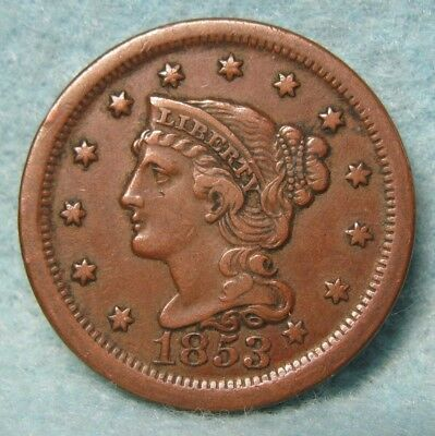 1853 Braided Hair Large Cent XF- Details * US Coin *