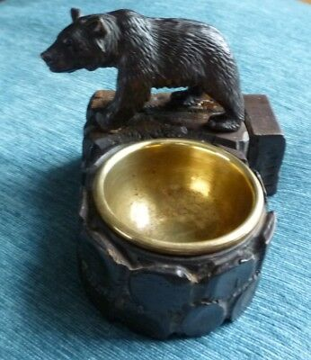 ~Antique Hand Carved Black Forest Swiss Bear~Ashtray~