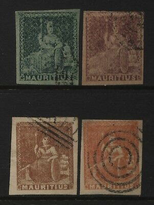 Mauritius Collection 4 Early Britannia Stamps Used