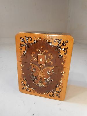Vintage inlaid Playing Card Box , Sorrento Ware type     ref 2047