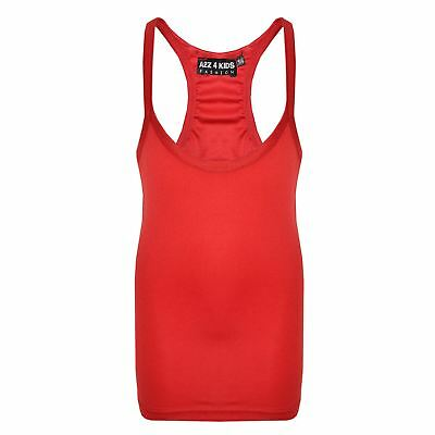 Kids Girls Racer Back Vest Red Top Stylish Fashion Tank Tops T Shirts 5-13 Years