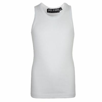 Kids Girls Ribbed Vest Top White 100% Cotton Fashion Tank Tops T Shirt 5-13 Year