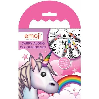 Pink Emoji Unicorn Carry Along Colouring Pad Party Favour Activity Set Kids Gift