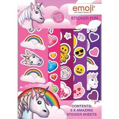 Girls Emoji & Unicorn Sticker Fun Stickers Party Bag Favour Activity Set Kids