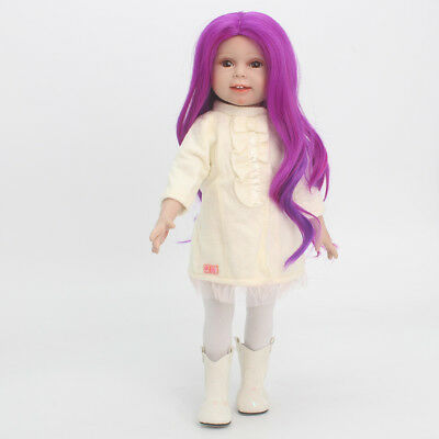 32CM High-temperature Wire Curly Hair for 18'' American Girl Dolls Fuchsia