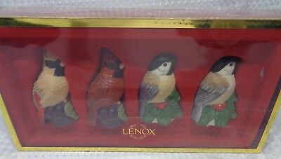 Lenox Winter Greetings Everyday Salt Pepper shakers set of 4 BIRDS unused NEW