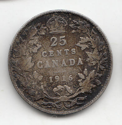 Canada Silver 25 Cents 1916      62T     By Coinmountain
