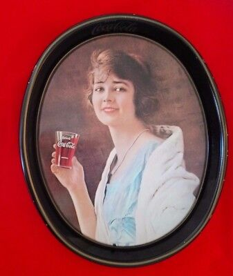 Coca Cola -1923 Advertising Oval Serving Tray- Roaring 20's Woman - w/Coke Glass