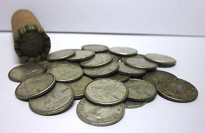 Lot of 50 Circulated, Assorted Canadian Ten Cent Coins - 80% Silver