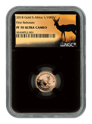 2018 South Africa 1/10 oz. Gold Krugerrand NGC PF70 UC FR Black Core SKU54388