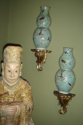 Antique Chinese Qing Pair Double Gourd Wall Vases Qianlong Painted Enamel Birds