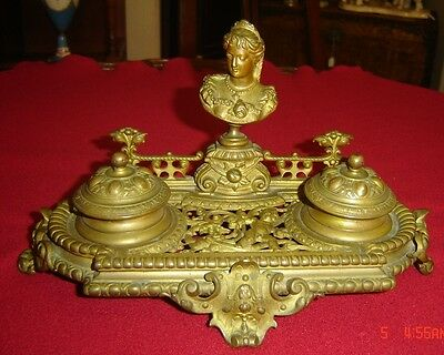 Antique French Empire Bronze Double Inkwell Princess Portrait and Cherubs Rare