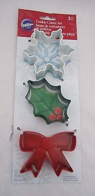 Wilton Cookie Cutter Cutters Metal Set Lot of 3 Snowflake, Holly Leaf & Bow NEW