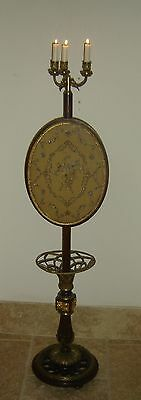Antique Unique French Fireplace Screen Pole Crystal Embroidery and Ormolu C.1820