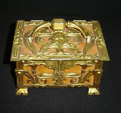 Antique Spectacular French Art Nouveau Gilt Bronze and Leather Dresser Box Rare.