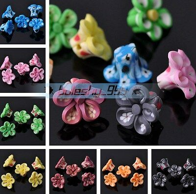 10pcs 15X10mm Flower Polymer Clay Loose Spacer Beads DIY Jewelry Findings