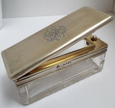 Fine Large English Antique 1873 Solid Sterling Silver Travel Inkwell Powder Box
