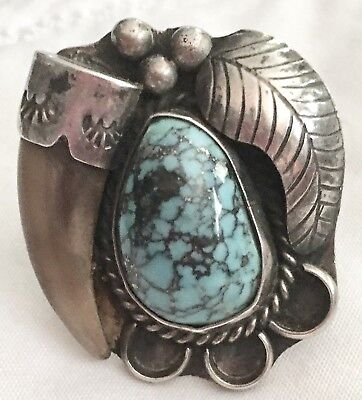 Vintage PAWN NATIVE AMERICAN .41 oz STERLING TURQUOISE BIG FAUX BEAR CLAW RING