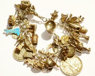 Superb Large Antique Old Vintage Very Busy Heavy Silver Charm Bracelet 45 Charms