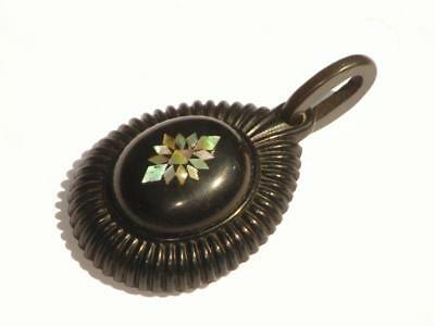 Rare And Superb Antique Large Victorian Whitby Jet & Abalone Necklace Pendant