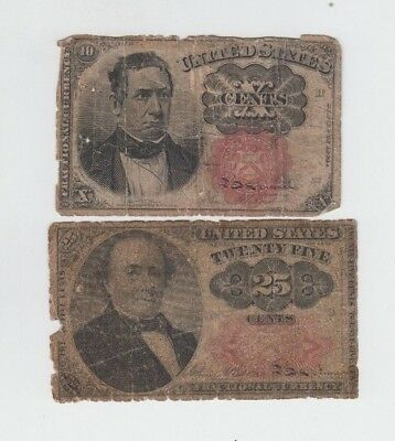 Fractional Currency Civil war era item to the 1870's 2 notes  lower grade