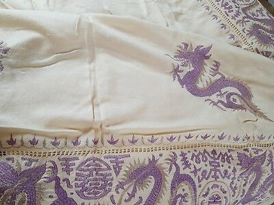 Large Vintage Cream Tablecloth Grey and Purple Chinese Dragons Hand Embroidery
