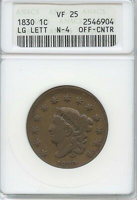 1830 1¢ Struck Off-Center Anacs Vf-25