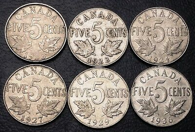 Lot of 6x Canada 5 Cents Coins ***1922 to 1936*** Great Condition