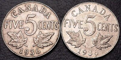 Lot of 2x 1936 Canada 5 Cents Nickel Coins - Great Condition