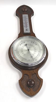Vintage Retro Wooden Millibars BAROMETER With THERMOMETER Weather Station - A29