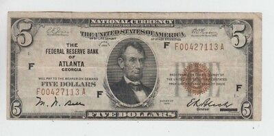 Federal Reserve Note FRBN $5 1929  fine