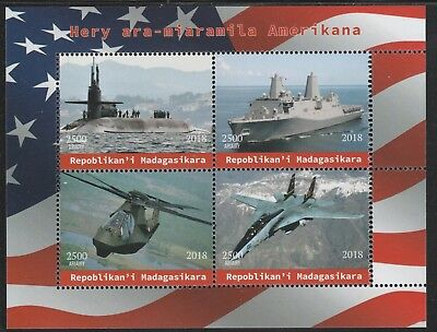 Madagascar 7608 - 2018  AMERICAN MILITARY  perf sheet of 4 unmounted mint