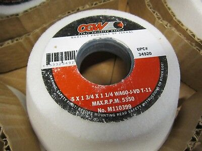 CGW A/O 60 Grit Tool Room Cupped Surface Tool Grinding Wheel 5 x 1-3/4 x 1-1/4