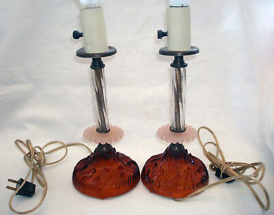Vintage Amber Flame Petal Pink Bubble Twisted Glass Boudoir Bedroom Table Lamps