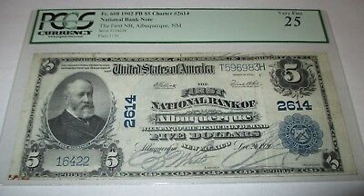 $5 1902 Albuquerque New Mexico NM National Currency Bank Note Bill! #2614 VF!