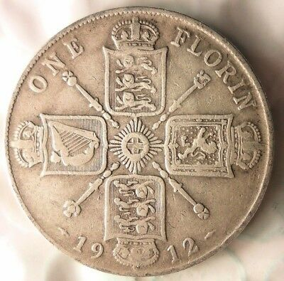 1912 GREAT BRITAIN FLORIN - Excellent Early Date Vintage Silver Coin - Lot #79