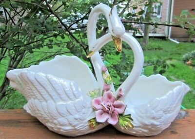 Beautiful Capodimonte Planter Iridescent Double Swans Large 16 X 10 X 7