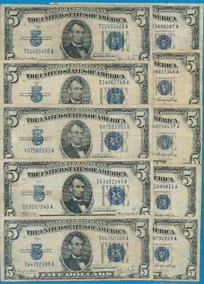 10-$5.00 1934/53 Mixed Blue Seal Silver Certificates Average Circ. Dealers Lot