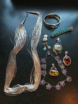 Lot Vintage STERLING SILVER 925 Jewelry, 980 Taxco, Southwestern .. 277 grams