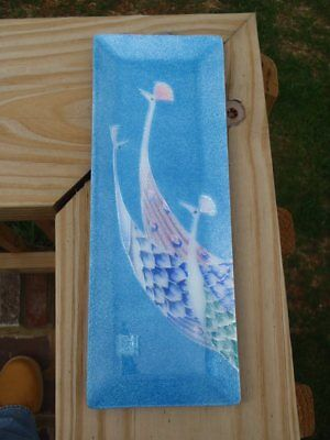 """Gorgeous Asian Blue Enameled Metal 9.5"""" VANITY DRESSER TRAY with PEACOCKS Signed"""