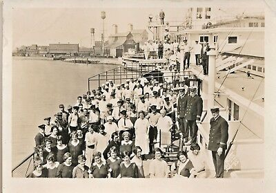 1920s Captain and Crew on Deck, Large Cruise Liner Ship at Port Photograph
