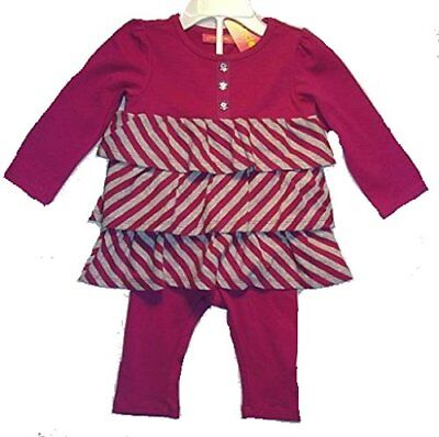 GREENDOG Girls 6-9 Months Purple Striped Tiered Top Leggings Set Outfit