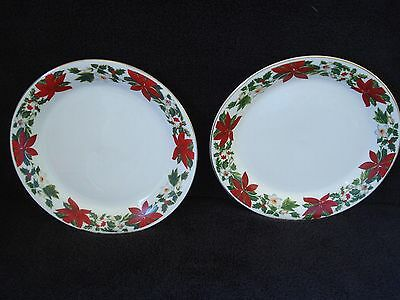 Gibson POINSETTIA HOLIDAY Dinner Plates Christmas Holiday Dinnerware Set of Two : gibson christmas dinnerware - Pezcame.Com