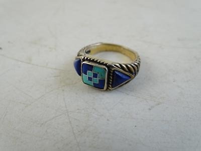Sterling Silver Turquoise Lapis Zuni Native American Indian Ring Checkerboard