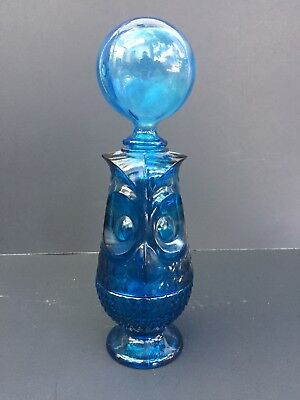 Vintage Mid Century Viking Blue Glass Owl Fairy Lamp Candle Holder