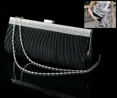Black Satin Crystal Bag For Wedding Evening Party Event Dressing Hand Bag Qh7