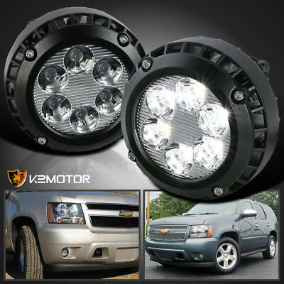 2007-2014 Chevy Tahoe Suburban GMC Yukon Clear Lens LED Fog Lights Bumper Lamps