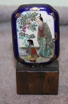Antique Unique Chinese Miniature Hand Painted/gilt Porcelain/bronze Panel Signed