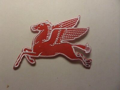 "MOBIL OIL ""PEGASUS HORSE""   Embroidered 2-1/2 x 3-1/2 Iron On PATCH"