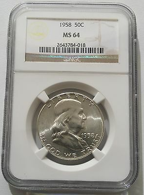 1958 US Franklin Half Dollar Snow White Luster NGC MS64 Silver Coin